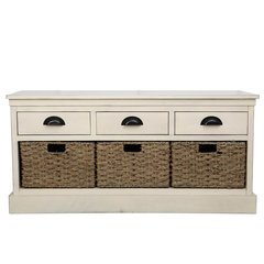 Beautiful shabby Chic natural finish 3 drawer and 3 basket set