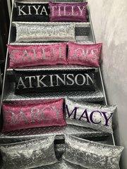 Personalised glitter & velvet name cushions - colour options