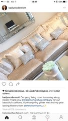 Stunning Ava Oyster and glitter scatter cushion as seen on Kady Mcdermott sofa