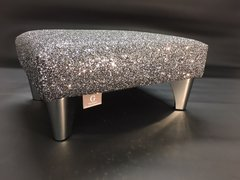 Luxury Grey Sparkle Glitter Footstool Small