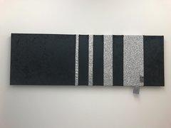 Stunning Ebony Black crushed velvet - silver glitter barcode - large