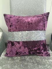 Stunning Lustro Amethyst with silver crackle glitter band scatter cushion