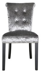 Charcoal crushed velvet dining room chair with button effect