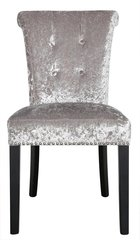 Silver crushed velvet dining chair with button effect
