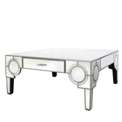 Beautiful Hollywood 2 drawer antique mirror coffee table