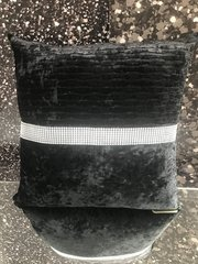 black wave effect cushion with sparkle band detail