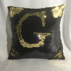 beautiful black and gold sequin mermaid scatter cushion