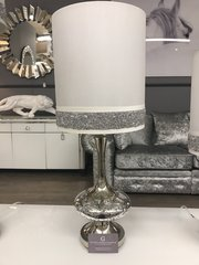 Beautiful Silver Mercury Disc Lamp on Silver base with 10 Inch White crystal crackle Stripe Shade
