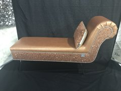 Stunning copper faux leather one arm chaise - copper glitter - copper Claira cushion