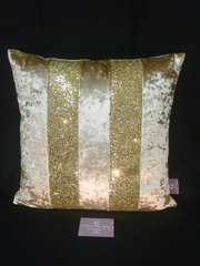 Beautiful Ava gold chartreuse crushed velvet - gold/silver mix glitter scatter cushion