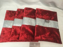 Ready made special - beautiful Red velvet with disco glitter table runner