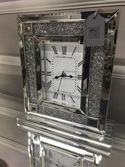 Stunning crystal crackle crushed diamonds and mirror square clock