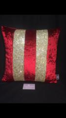 Stunning AVA red velvet - gold glitter scatter cushion cover