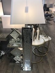 Beautiful floating crystal and mirror floor lamp with white 22inch shade
