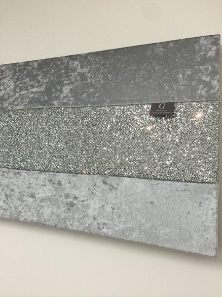 Stunning gunmetal grey with silver glitter large wallart for Silver grey walls