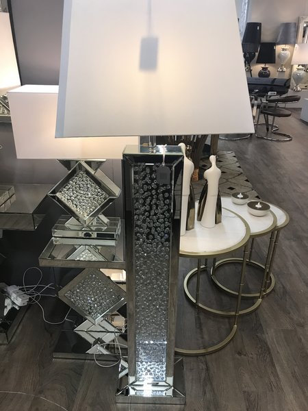 Beautiful Floating Crystal And Mirror Floor Lamp With