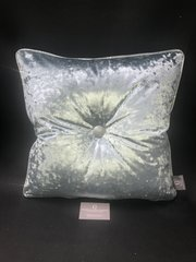 Beautiful Cambridge Blue - silver disco glitter pipe & large button detail scatter cushion