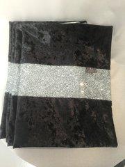 Stunning black crushed velvet with silver glitter bed runner