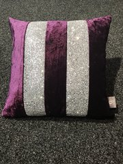 Beautiful Boutique purple crushed velvet Ava - silver glitter scatter cushion