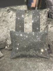 Stunning Silver full glitter Claira scatter cushion- crackle silver
