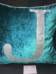 Stunning Alphabet glitter cushions Boutique kingfisher crushed velvet - silver disco glitter