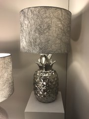 Silver Pineapple Table Lamp With 10 Inch Silver Cobweb Shade