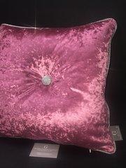 Lipstick pink - silver disco glitter button and pipe glitter cushion