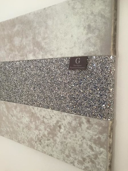 Wall Decor With Glitter : Crushed velvet silver with stunning glitter wall
