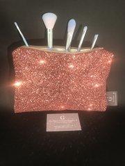 Stunning Rose gold glitter makeup bag - velvet lined