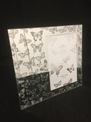 Beautiful mirror and silver glitter butterfly 4x6 photo frame
