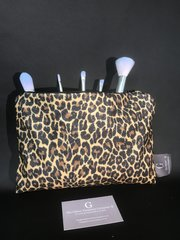 Beautiful leopard animal print glitter makeup bag