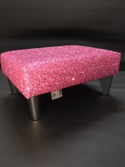 Luxury Pink Sparkle Glitter Footstool Small