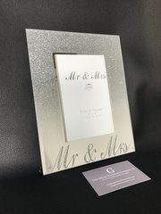 Mr and Mrs silver glitter ombre photo frame 4x6 - wedding