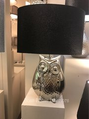 Silver Oval Owl Table Lamp With 10 Inch Black Snakeskin Shade