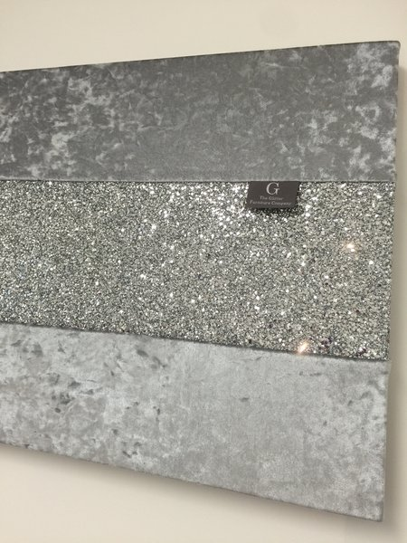 Glitter Wall Art stunning gunmetal grey with silver glitter large wallart | the