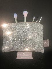 Stunning Silver glitter makeup bag - velvet lined