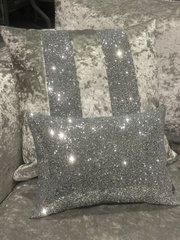 Stunning silver velvet/silver glitter Ava scatter cushion