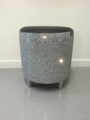 Beautiful black faux leather with stunning silver glitter drum stool