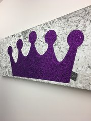 Stunning Princess crown glitter wall art - large - colour options