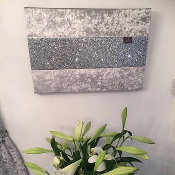 Glitter Wall Art crushed velvet silver with stunning silver glitter wall art medium