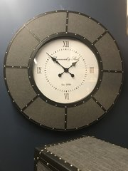 Stunning large grey and faux leather wall clock