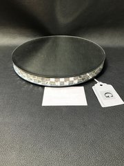 Stunning round square and crystal mirror effect candle plate