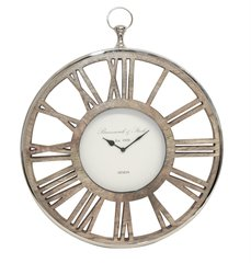 Beautiful nickel and wooden wall clock