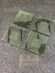 Stunning crackle crystal and mirror set of 4 coasters