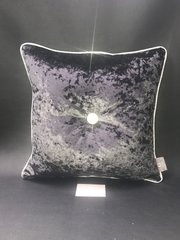 Stunning black Ebony - silver disco glitter pipe & large button detail scatter cushion