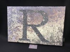 Beautiful Gunmetal grey crushed velvet - silver glitter - Alphabet wall art picture