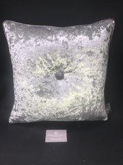 Beautiful silver Senso velvet - gunmetal grey glitter pipe & large button scatter cushion