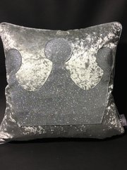 Stunning glitter Princess crown scatter cushion - silver velvet - silver disco glitter
