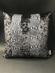 Stunning Ava Snake glitter animal print - black & white - black crushed velvet cushion