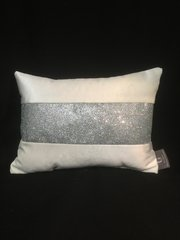 Beautiful Hollibeck ice white velvet cushion with silver disco glitter 14x10 inch